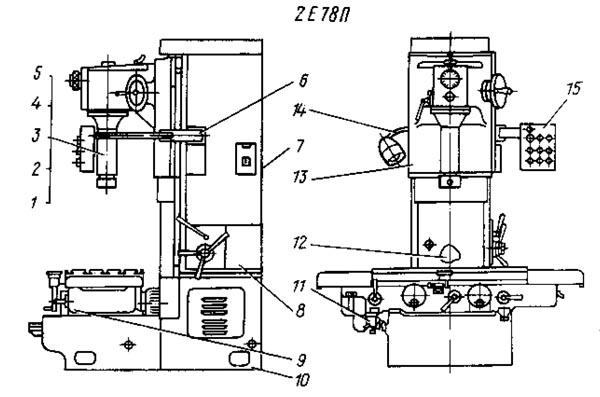 2е78п, 2е78пн Расположение составных частей отделочно-расточного станка