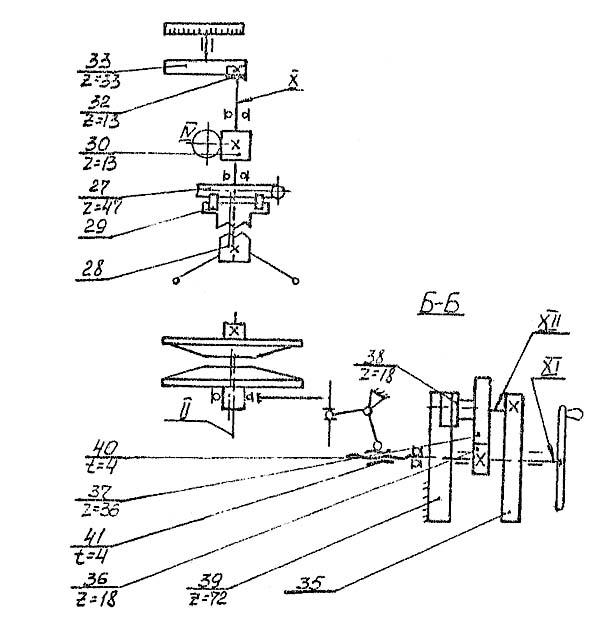 2Г125 Схема кинематическая сверлильного станка