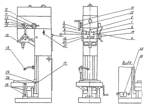 2Г125 Общий вид и органы управления сверлильного станка