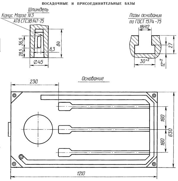 2К52 Посадочные и присоединительные базы радиально сверлильного станка