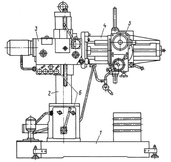 2К52, 2К52-1 Расположение составных частей радиально-сверлильного станка