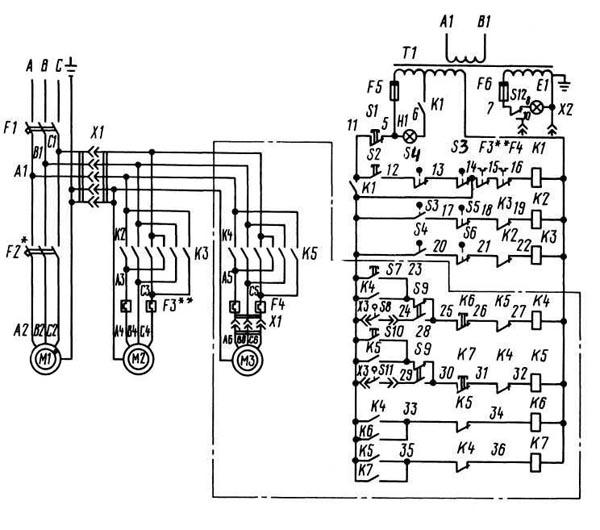 2К52-1 Схема Электрическая
