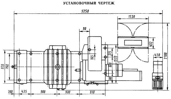 Установочный чертеж горизонтально-расточного станка 2Л614