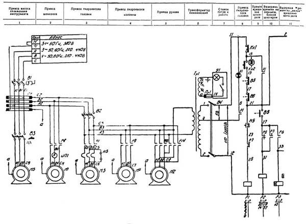 2М57 Схема электрическая схема радиально-сверлильного станка