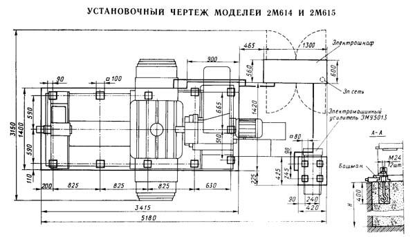 Установочный чертеж горизонтально-расточного станка 2М614