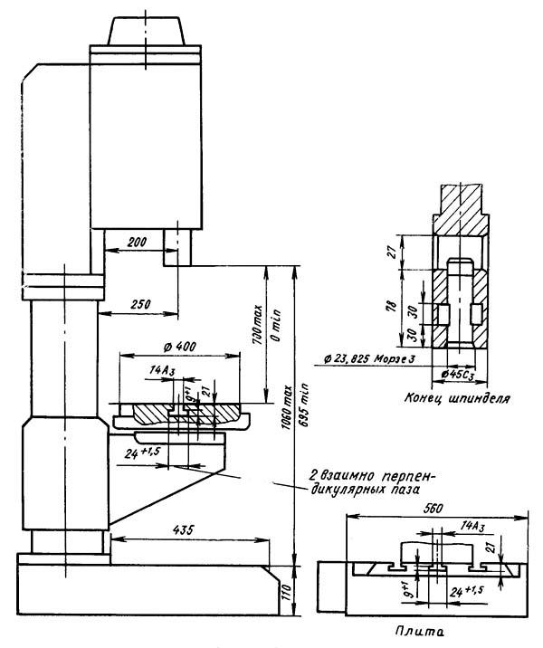 2Н125Л Габарит рабочего пространства сверлильного станка