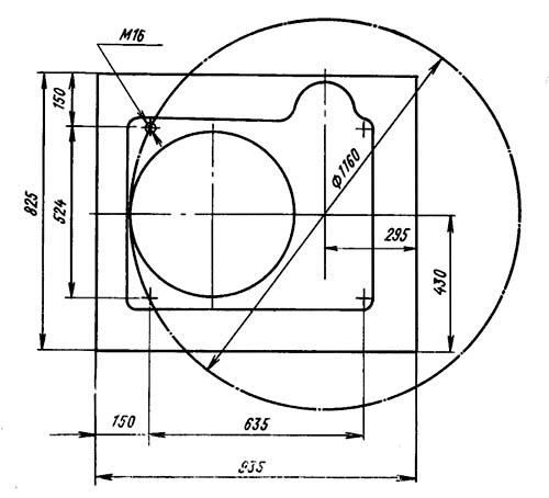 2Н125Л Установочный чертеж вертикально-сверлильного станка