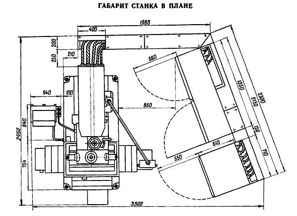 2Р135Ф2 Установочный чертеж сверлильного станка