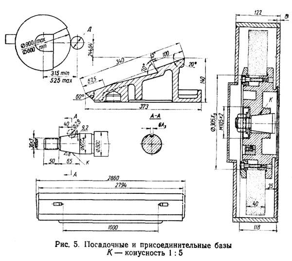 Габарит рабочего пространства станка 3А423 для перешлифовки шеек коленчатых валов
