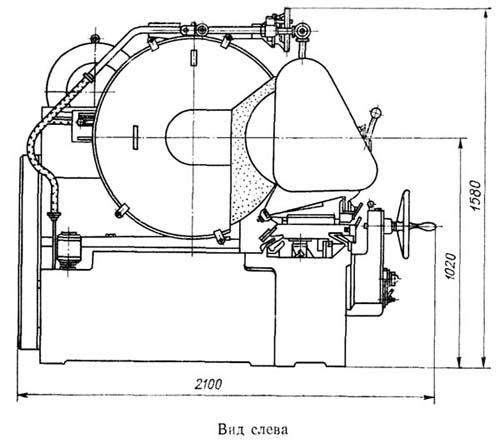 Чертеж рабочего пространства станка 3А423 для перешлифовки шеек коленчатых валов