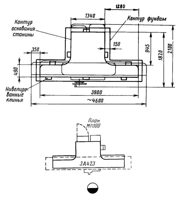 Установочный чертеж круглошлифовального станка 3А423