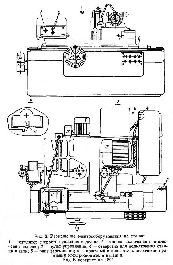 Размещение электрооборудования на станке 3А151, 3А161