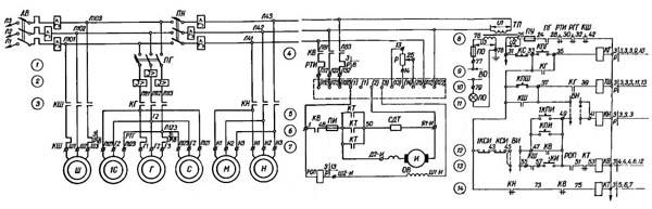 Схема электрическая принципиальная станка 3А151, 3А161