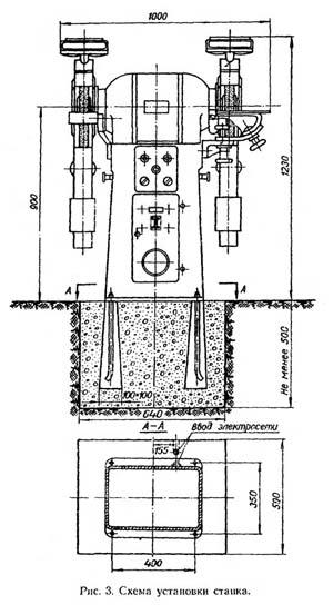 3Б634 Установочный чертеж точильного шлифовального станка