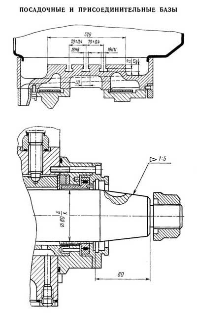 Присоединительные размеры и посадочные места станка 3Б722
