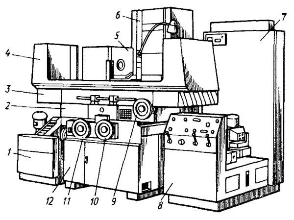 Расположение составных частей и органов управления универсального плоскошлифовального станка 3Е711В