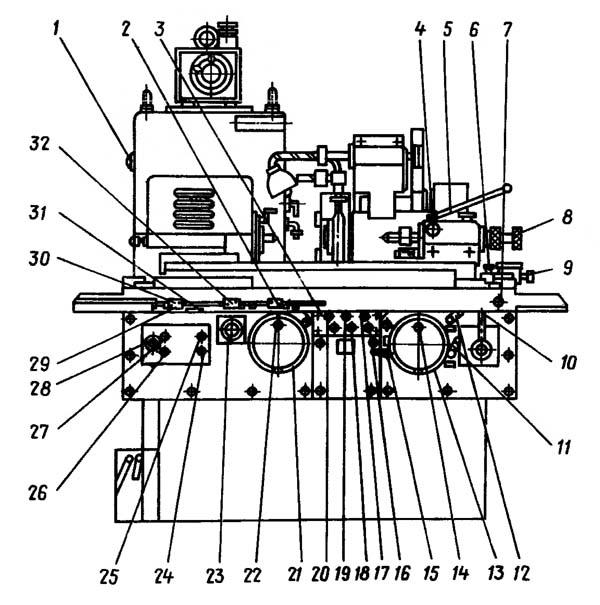 Расположение составных частей круглошлифовального станка 3К12