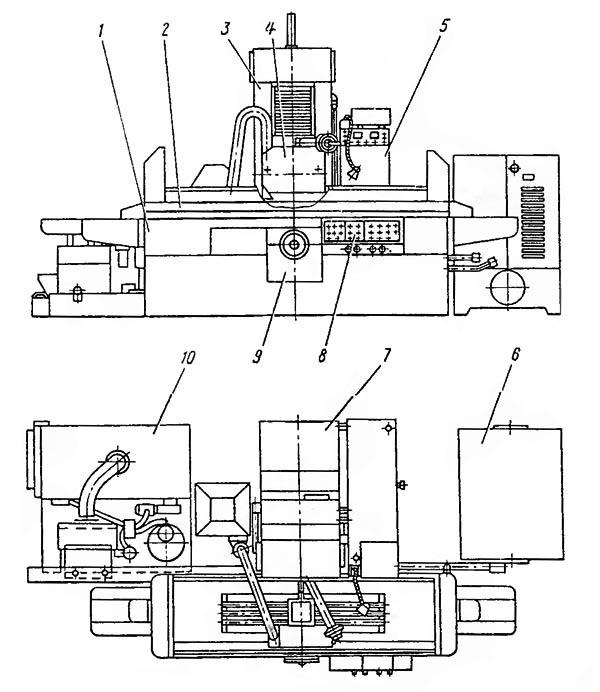 Перечень составных частей шлифовального станка 3Л722В