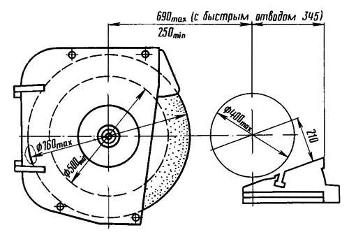 Габаритные размеры рабочего пространства универсального круглошлифовального полуавтомата станка 3М175
