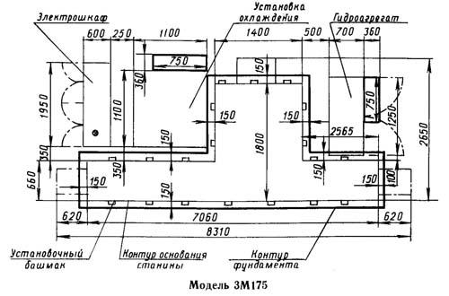 Установочный чертеж круглошлифовального станка 3М175