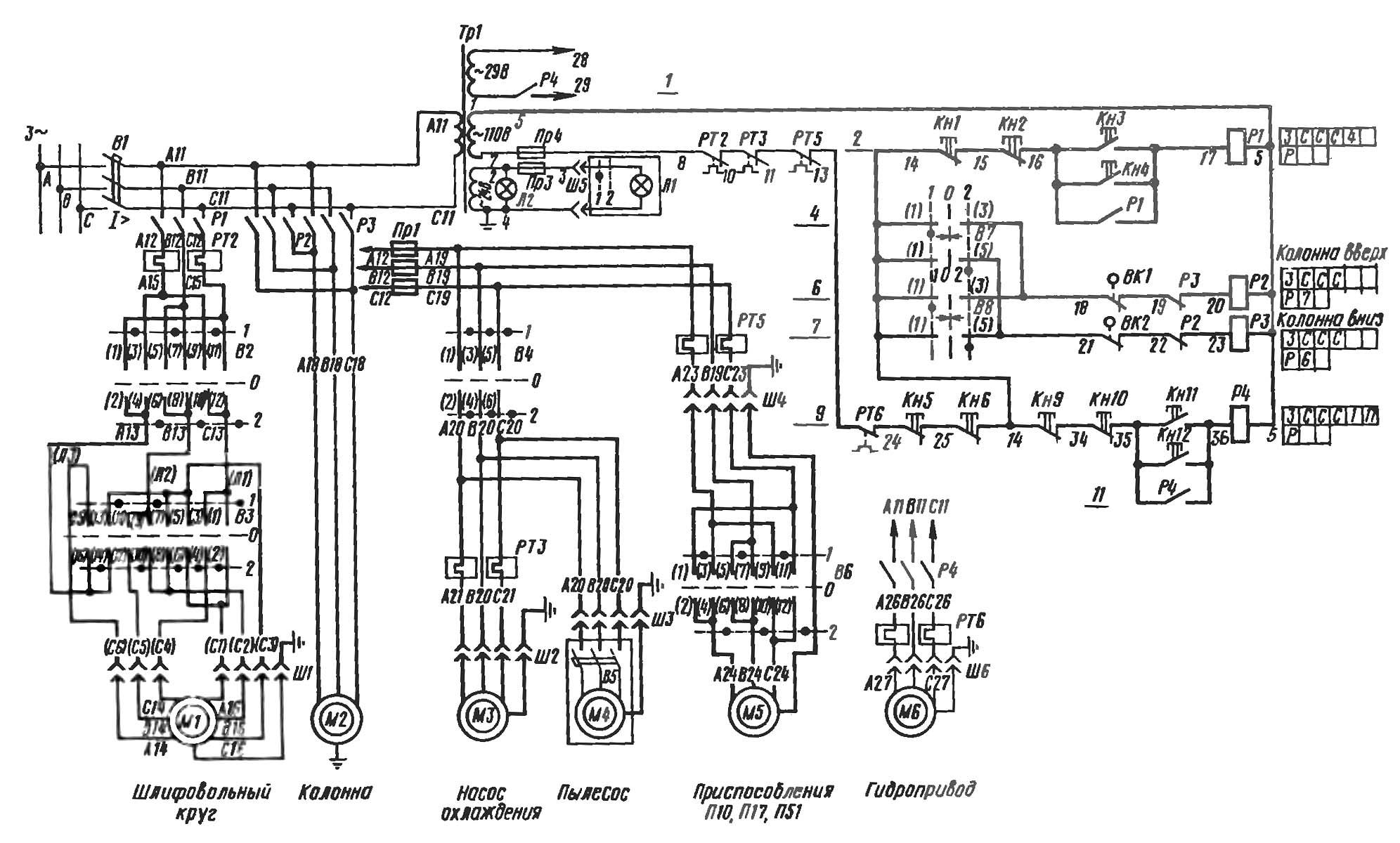 Принципиальная электрическая схема наждачного станка Сайт радиолюбителей - Экономия и безопасность при