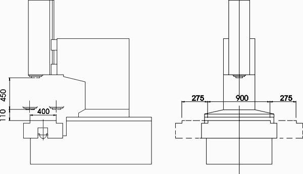 400V Габаритные размеры рабочего пространства фрезерного станка