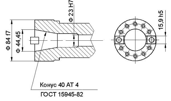 400V Посадочные и присоединительные размеры конца шпинделя