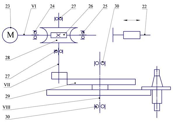 Кинематическая схема устройства смены инструмента вертикального сверлильно-фрезерно-расточного станка 400V