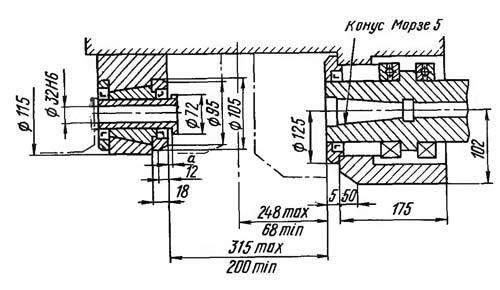 53А80 Посадочные и присоединительные базы зубофрезерного полуавтомата 53А80
