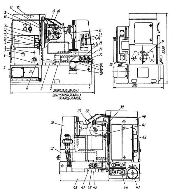 53А80 Расположение составных частей зубофрезерного полуавтомата 53А80