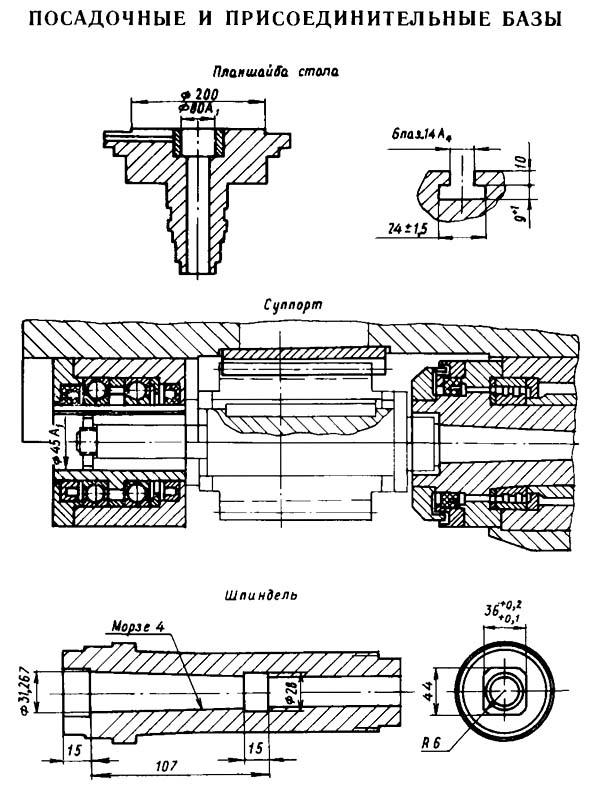 5К310 Посадочные и присоединительные базы зубофрезерного полуавтомата 5К310