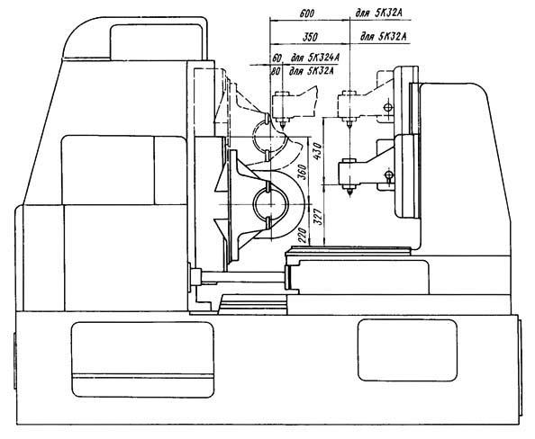 5К32А Станок зубофрезерный. Габариты рабочего пространства