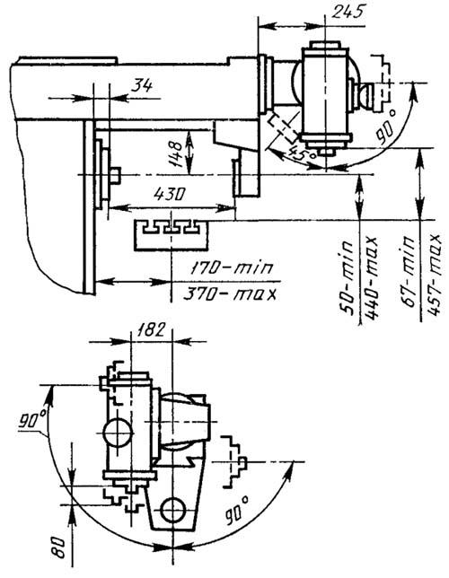 6Д81Ш Габаритные размеры рабочего пространства широкоуниверсального консольно-фрезерного станка