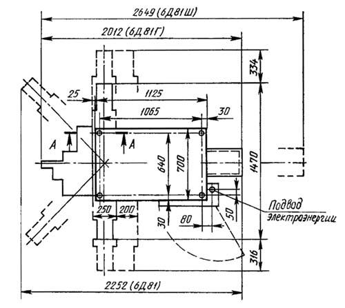 Установочный чертеж 6Д81Ш cтанок широкоуниверсальный консольно-фрезерный
