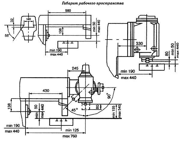 6К82Ш Габаритные размеры рабочего пространства и присоединительные базы широкоуниверсального консольно-фрезерного станка