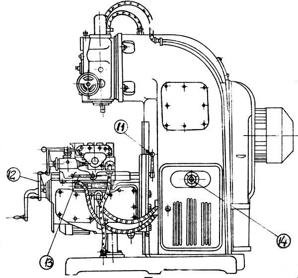 6М13П Расположение составных частей и органов управления консольно-фрезерного станка