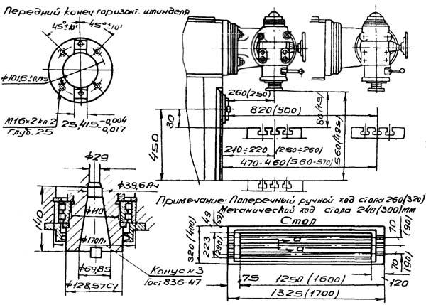 6М82Ш Габаритные размеры рабочего пространства и присоединительные базы широкоуниверсального консольно-фрезерного станка