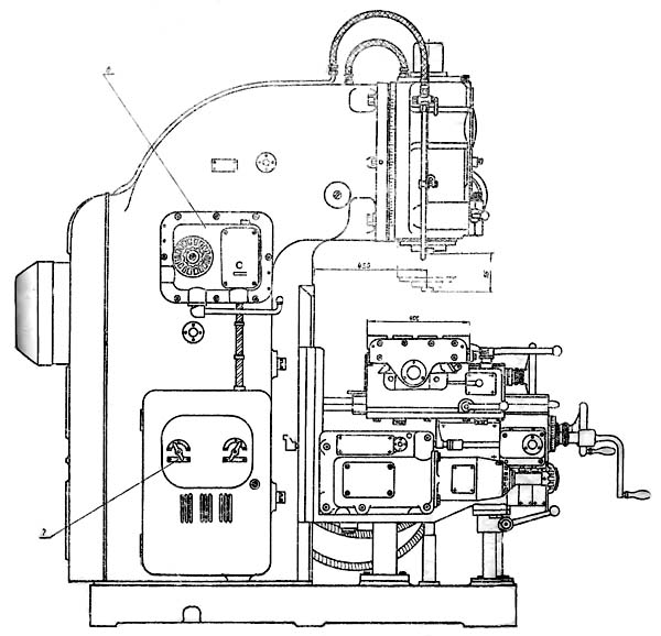 6Н13П Расположение составных частей и органов управления консольно-фрезерного станка