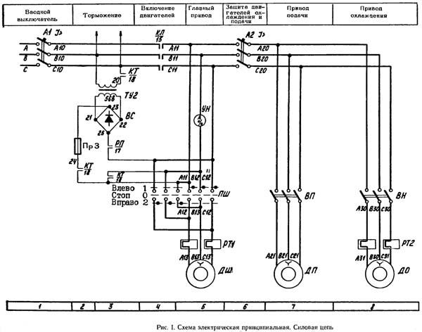 6Р10 Схема электрическая вертикально-фрезерного станка 6Р10