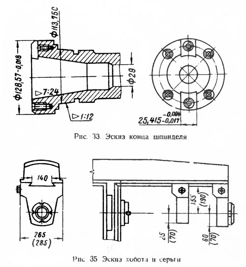 6Р82 Габаритные размеры рабочего пространства и присоединительные базы универсального горизонтального консольно-фрезерного станка
