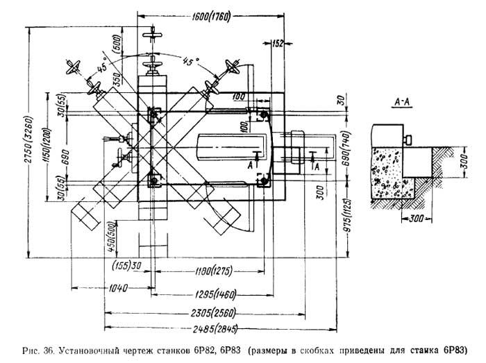 6Р82 Установочный чертеж cтанок горизонтальный консольно-фрезерный