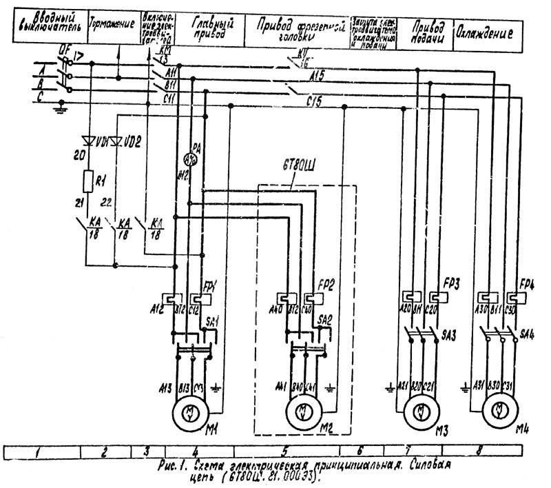 Схема электрическая 6Т80Ш cтанок широкоуниверсальный консольно-фрезерный