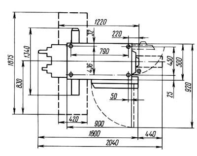 6Т80 Установочный чертеж cтанок горизонтальный с поворотным столом (универсальный) консольно-фрезерный