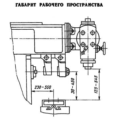 6Т82Ш Габаритные размеры рабочего пространства и присоединительные базы универсального горизонтального консольно-фрезерного станка
