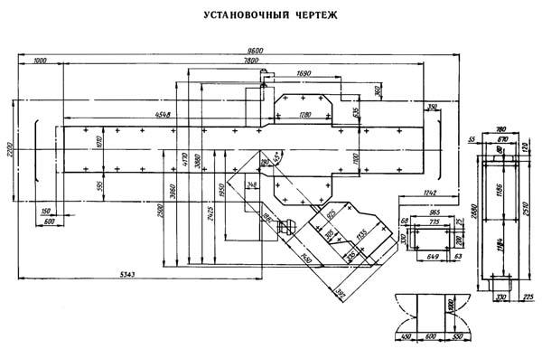 7210 Установочный чертеж продольно-строгального станка