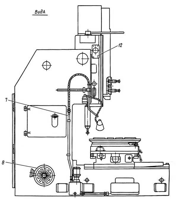 7Д430 Расположение составных частей долбежного станка с гидроприводом