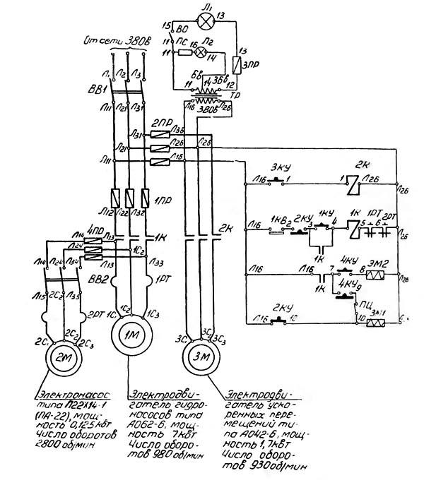 7М430 Схема электрическая долбежного станка
