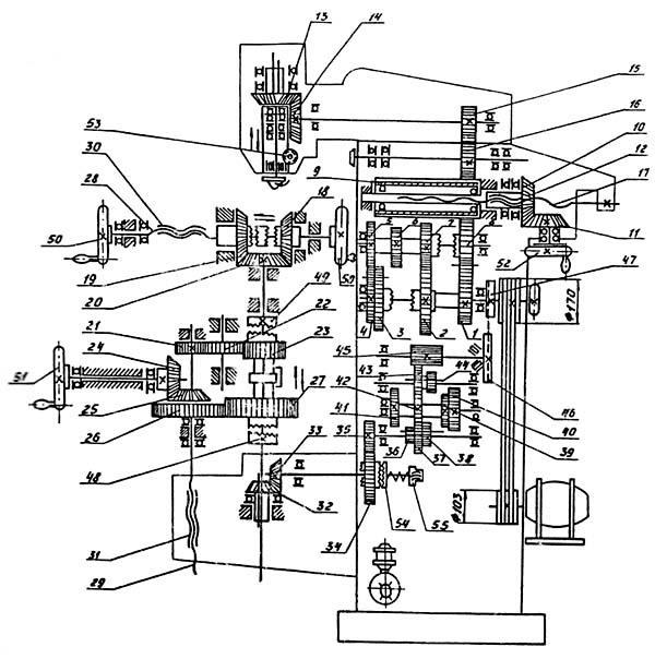 Схема кинематическая универсального фрезерного станка ФС-250