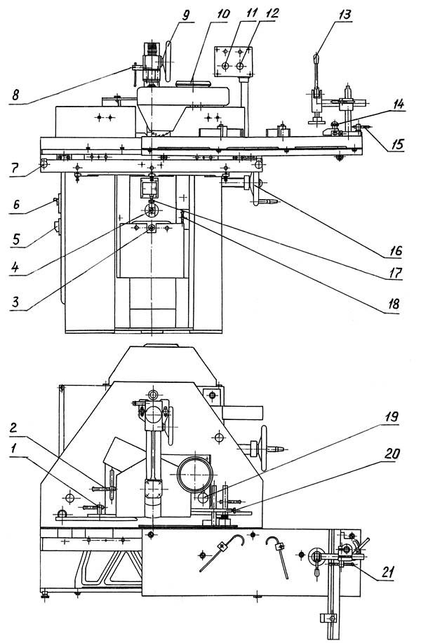Расположение составных частей фрезерного станка ФСШ-1А
