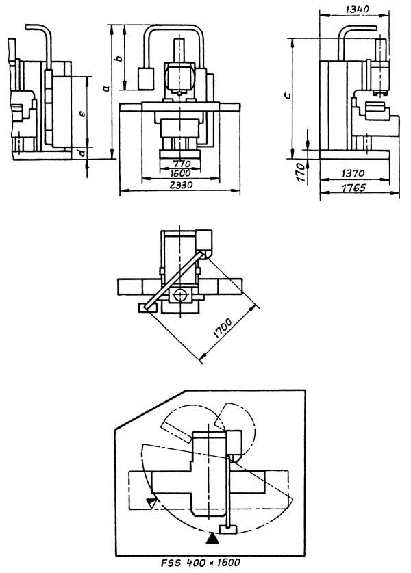 FSS-400 Габаритные размеры вертикального консольно-фрезерного станка